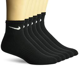 NIKE SOCKS 6 PAIR 12 SOCKS NEW QUARTER PERFORMANCE BLACK MEN