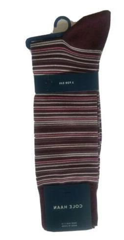 Cole Haan Socks 1Pair Dress Luxurious Cotton Men's Strip Mul