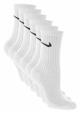 NIKE 6 PAIR 6 PACK NEW SOCKS WHITE MEN'S CREW SIZE 8-12 PERF