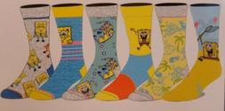 Spongebob Square Pants NEW 6 Pair CREW SOCKS SIZE 8-12 Biowo