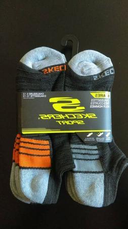 Skechers Sport 6 Pair Men's No Show Socks in Black / Orange