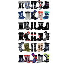 TeeHee Men's Cotton Crew Socks 5-Pack Skull Argyle Wing Stri