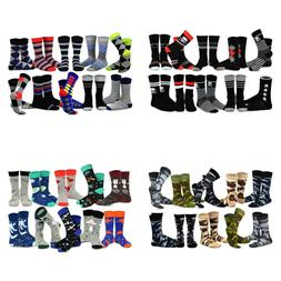 TeeHee Men's Fun and Fashion Cotton Crew Socks 10-Pack