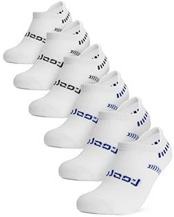 Tesla TM-MZS04-WHT_Small Men's 6-Pairs Atheltic No Show Sock