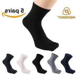 PACKGOUT MENS TOE SOCKS Five Finger Running Socks 5 PAIRS wi