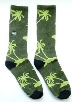 Vans Tropical Palms Crew Socks Mens Green Cotton Blend New N