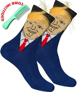 Trump Socks With Realistic Hair & Comb Unisex Novelty Funny