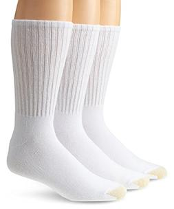 Gold Toe Men's Ultra Tec Crew 3 Pack Extended Sock, White, S