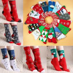 Unisex Men Women Christmas Socks Santa Claus Deer Warm Winte
