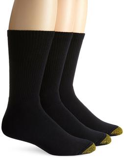 Gold Toe Men's Uptown Crew 3 Pack Socks, Navy, Sock Size 10-