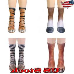 USA Adult Womens Mens Animal Paw Crew Socks Animal Novelty P