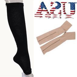 Women Men Sox Compression Socks with Zipper Supports Leg Kne